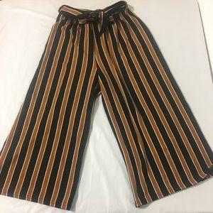 Pants - Striped Palazzo Wide Leg Capri Casual Pants